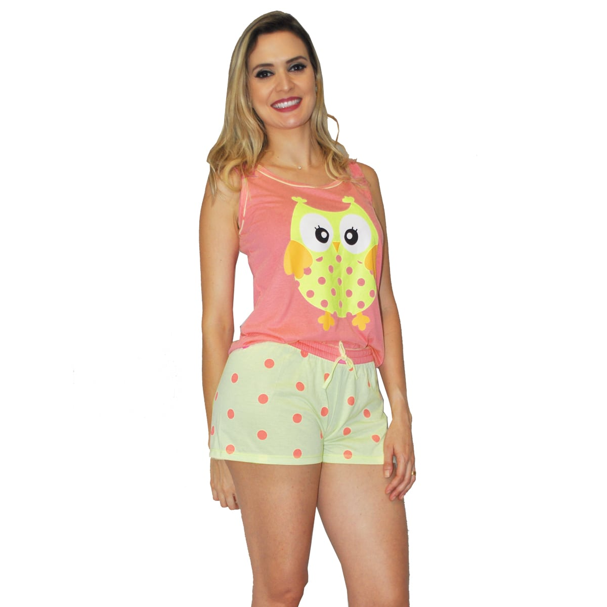 Baby Doll Short Camiseta Feminino Adulto Verão Malha Confortável Coruja Ref: 320