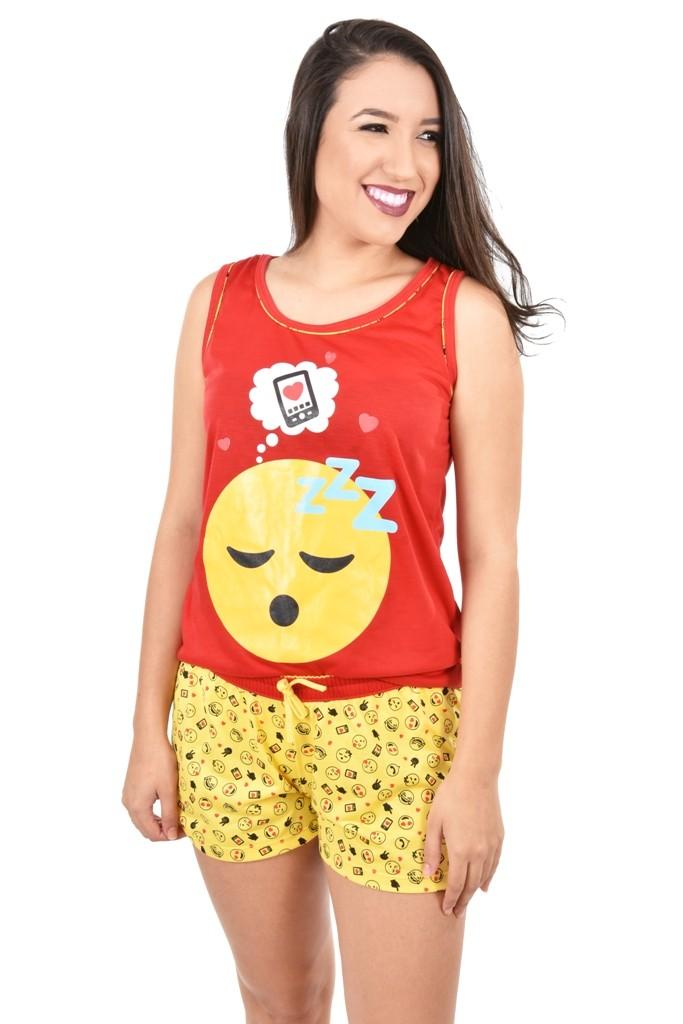 Baby Doll Short Camiseta Feminino Adulto Verão Malha Emoji Emoticons Ref: 359