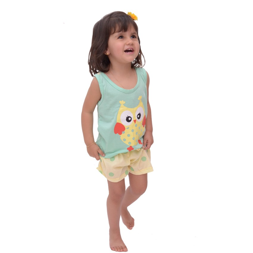 Baby Doll Short Camiseta Infantil Menina Verão Malha Confortável Coruja Ref: 321