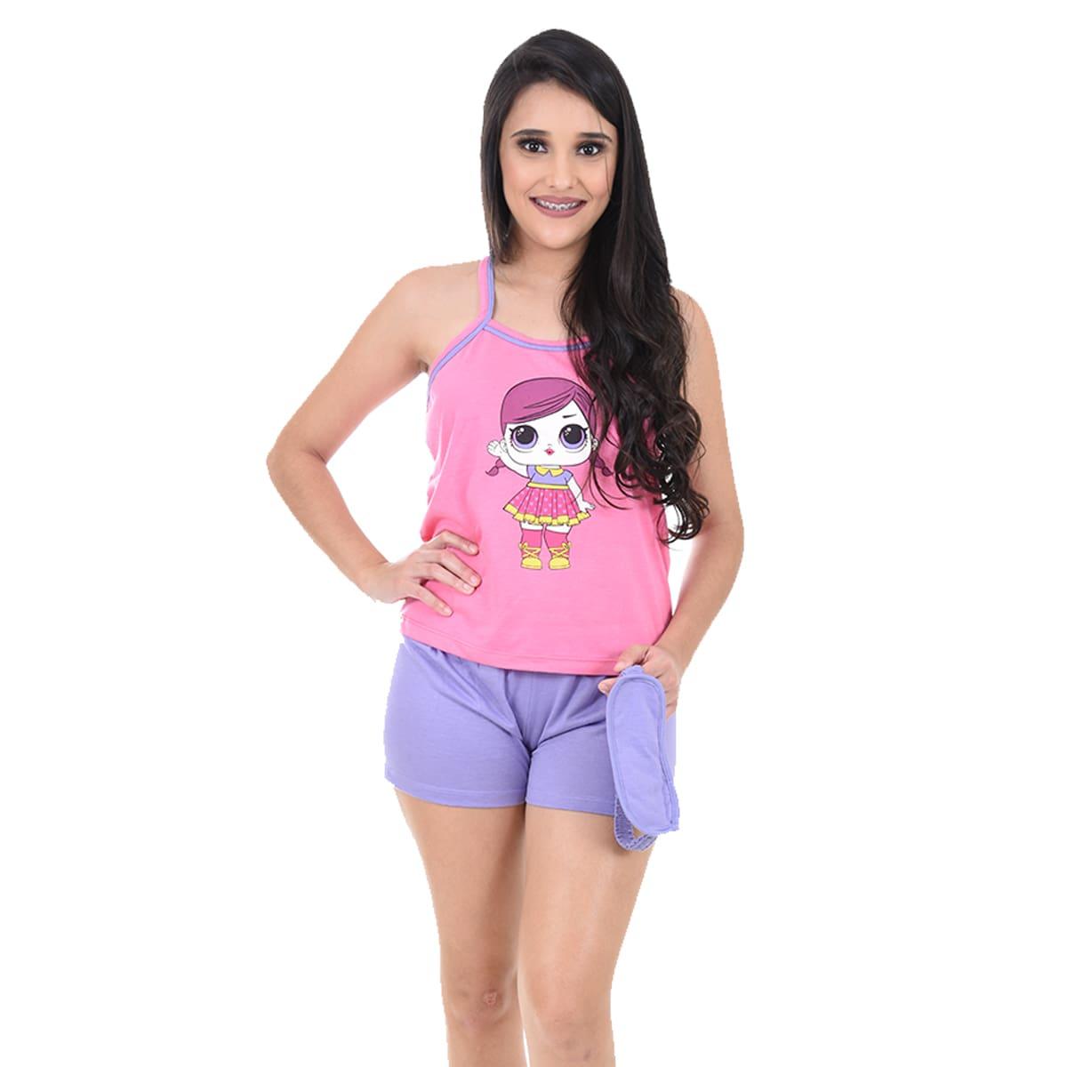 Baby Doll Short Doll Alça Adulto Feminino Com Tapa Olho LOL Surprise Ref: 330