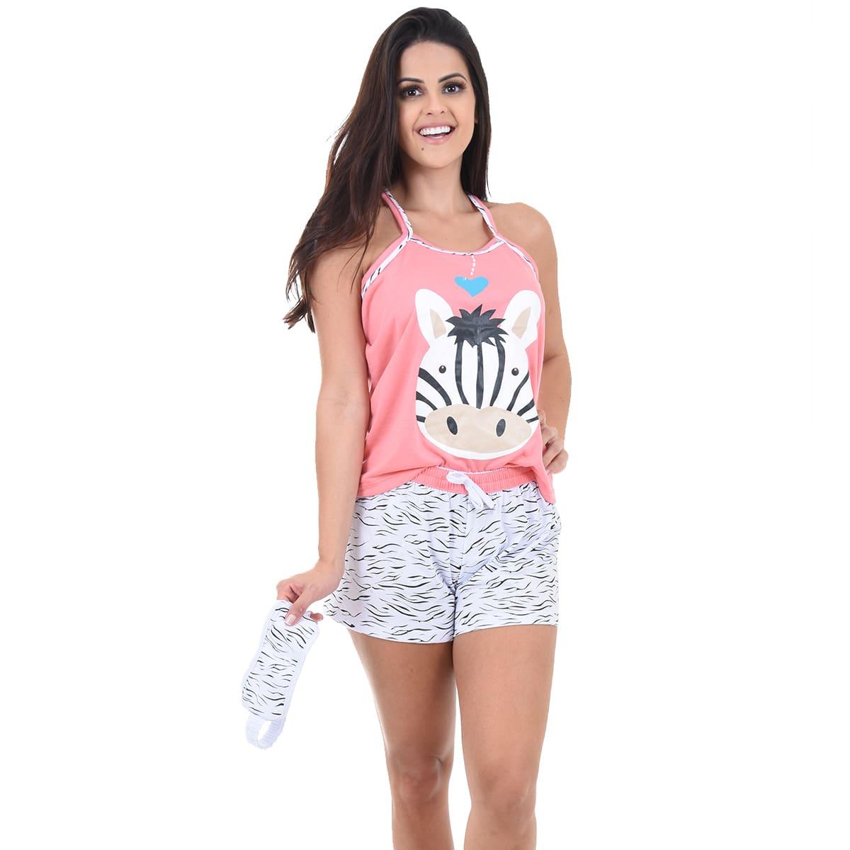 Baby Doll Short Doll Alça Feminino Adulto C/ Tapa Olho Malha Verão Ref: 296