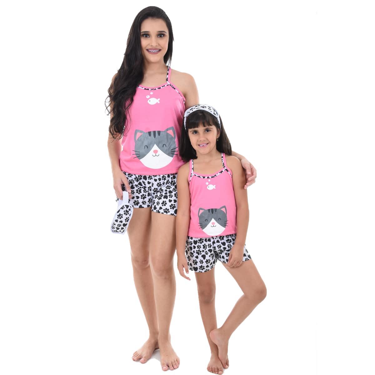 Baby Doll Short Doll Alça Feminino Adulto Com Tapa Olho Malha Verão Gato Ref: 296