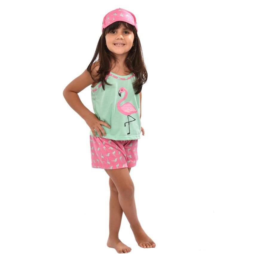 Baby Doll Short Doll Alça Feminino Infantil Menina C/ Tapa Olho Flamingo Ref: 318