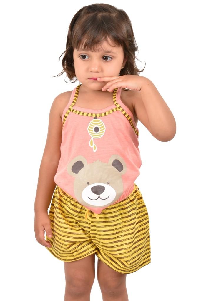 Baby Doll Short Doll Alça Feminino Infantil Menina C/ Tapa Olho Malha Verão Ref: 318
