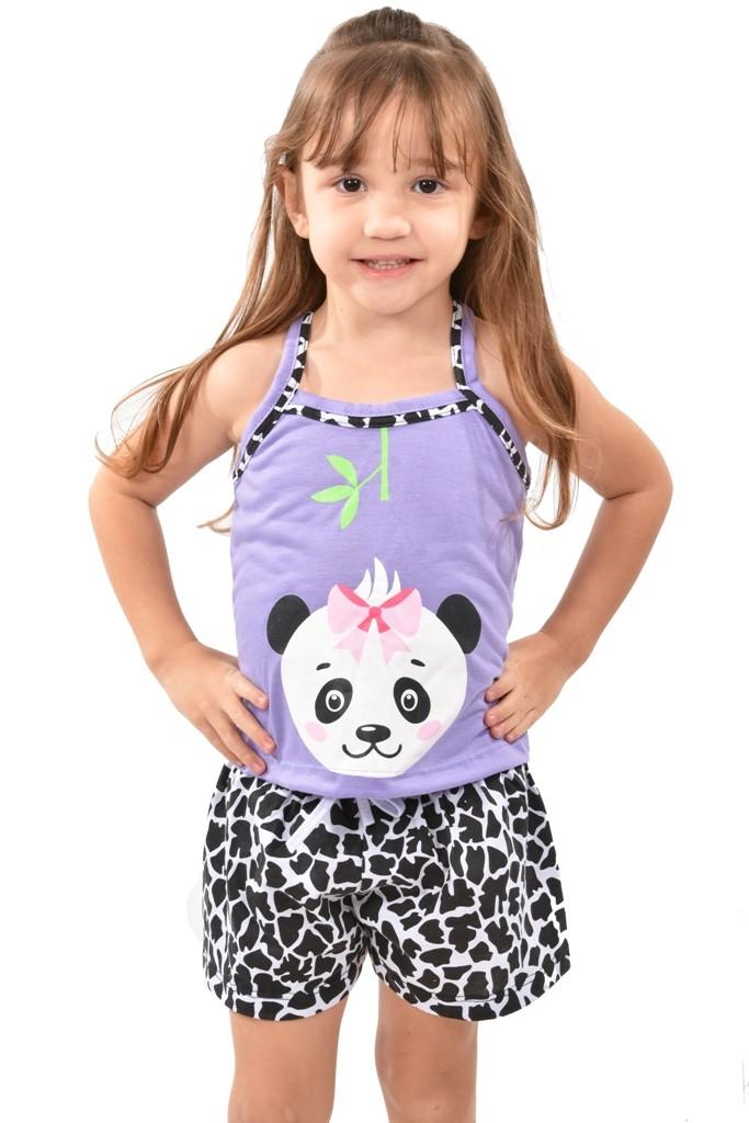 Baby Doll Short Doll Alça Feminino Infantil Menina C/ Tapa Olho Panda Ref: 318