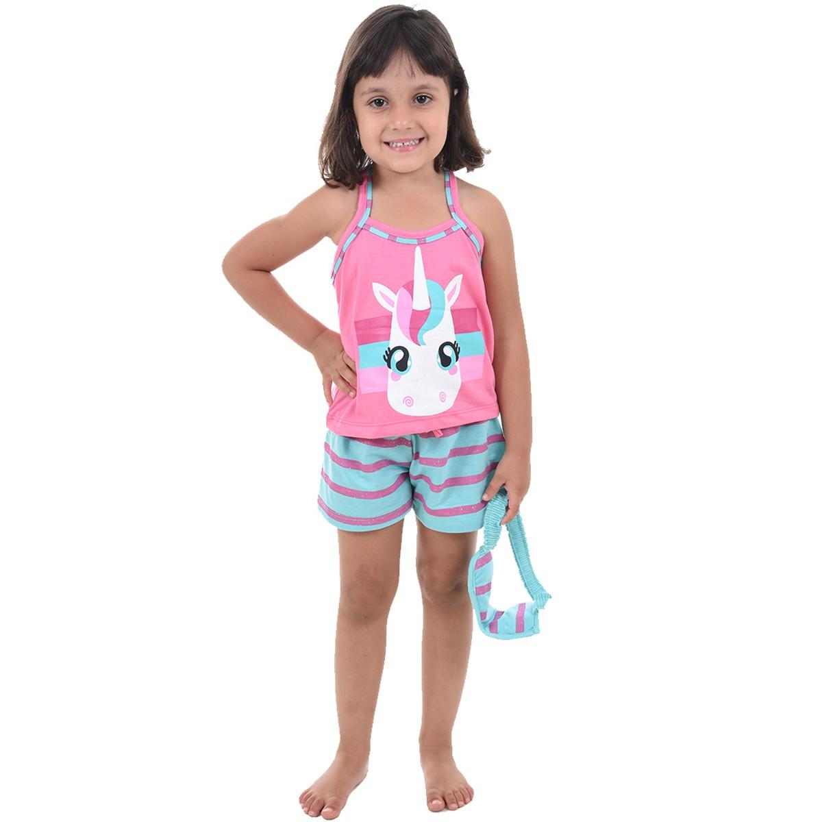 Baby Doll Short Doll Alça Feminino Infantil Menina C/ Tapa Olho Unicórnio Ref: 318