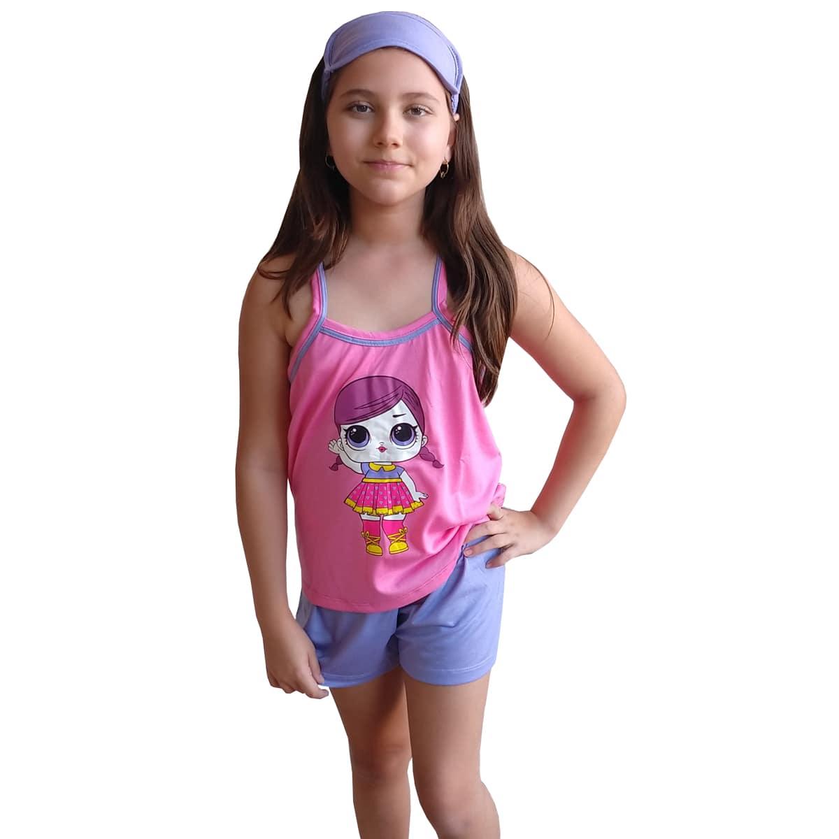 Baby Doll Short Doll Alça Infantil Menina LOL Surprise Com Tapa Olho 331