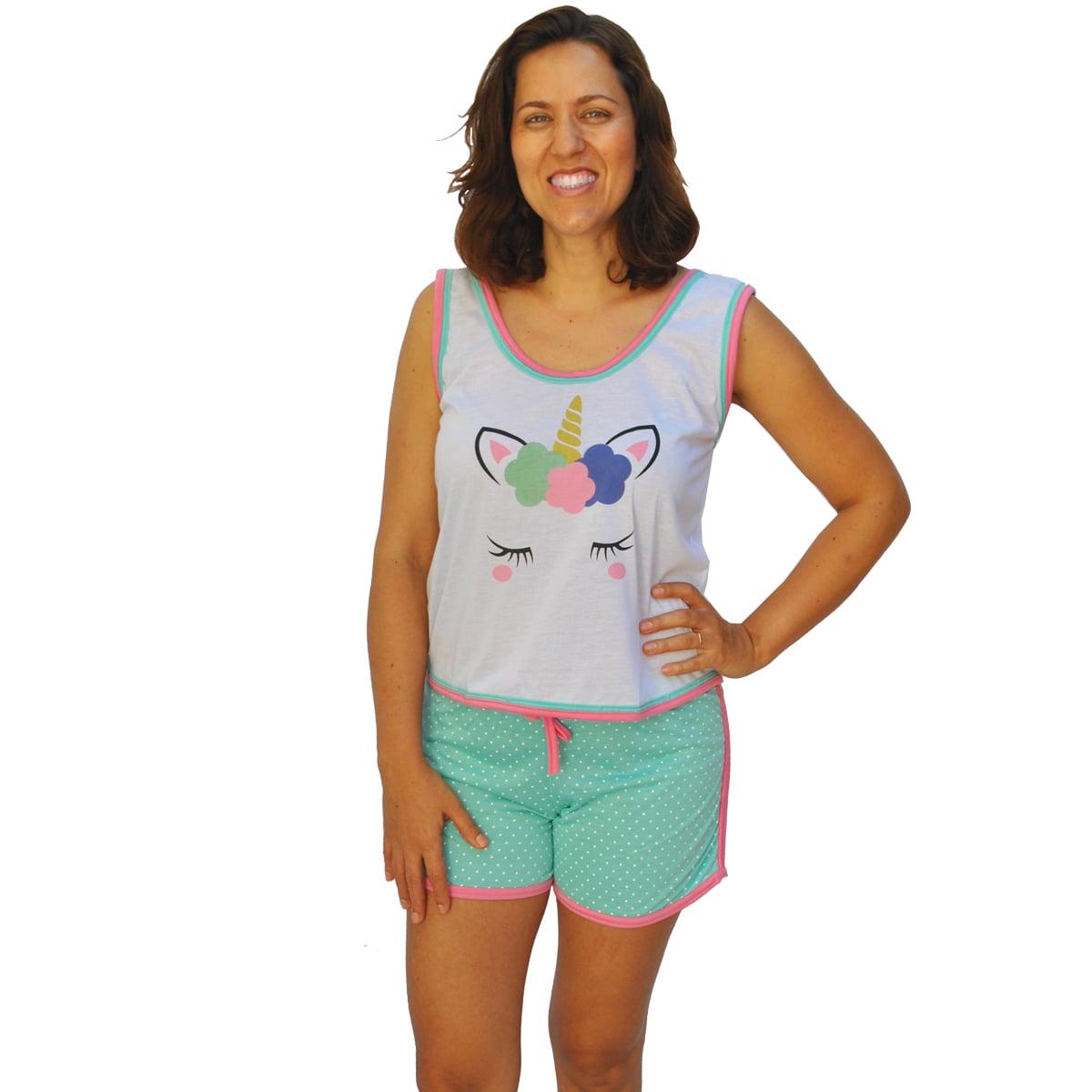 Baby Doll Short Doll Camiseta Feminino Adulto Unicórnio Minnie Ref: 027