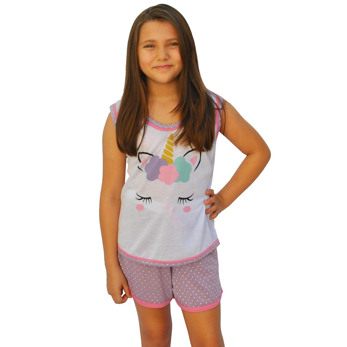 Baby Doll Short Doll Camiseta Feminino Infantil Unicórnio Minnie Ref: 026