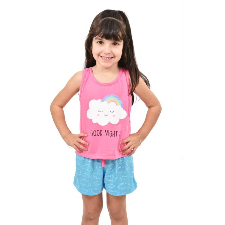 Baby Doll Short Doll Camiseta Regata Infantil Menina Nuvem Chuva de Amor Ref: 321