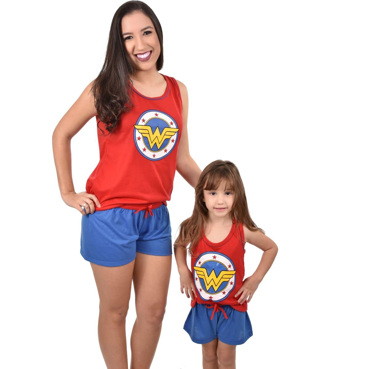 Baby Doll Short Doll Regata Mulher Maravilha Wonder Woman Feminino Adulto 328