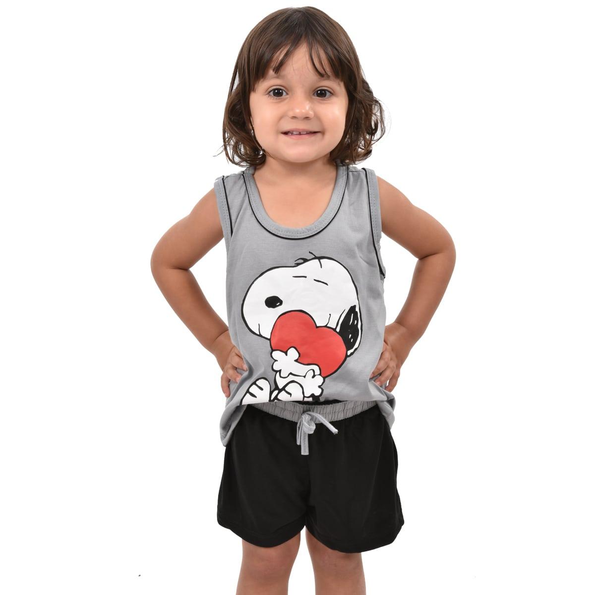 Baby Doll Short Doll Regata Snoopy Família Infantil Feminino Menina 329