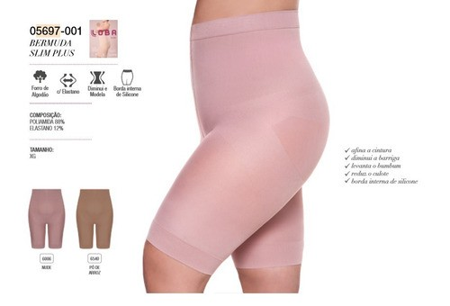 Bermuda Cinta Modeladora Slim Tamanho Plus Size Loba Reduz Barriga Culote Levanta Bumbum Lupo 5697