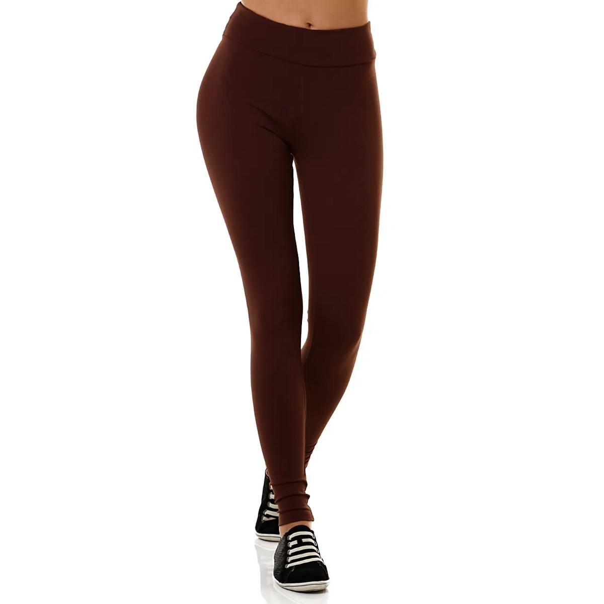 Calça Legging Cotton Power Algodão Fashion Dia a Dia Cintura Alta Confortável Marrom Feminina Adulto Loba Lupo 41841