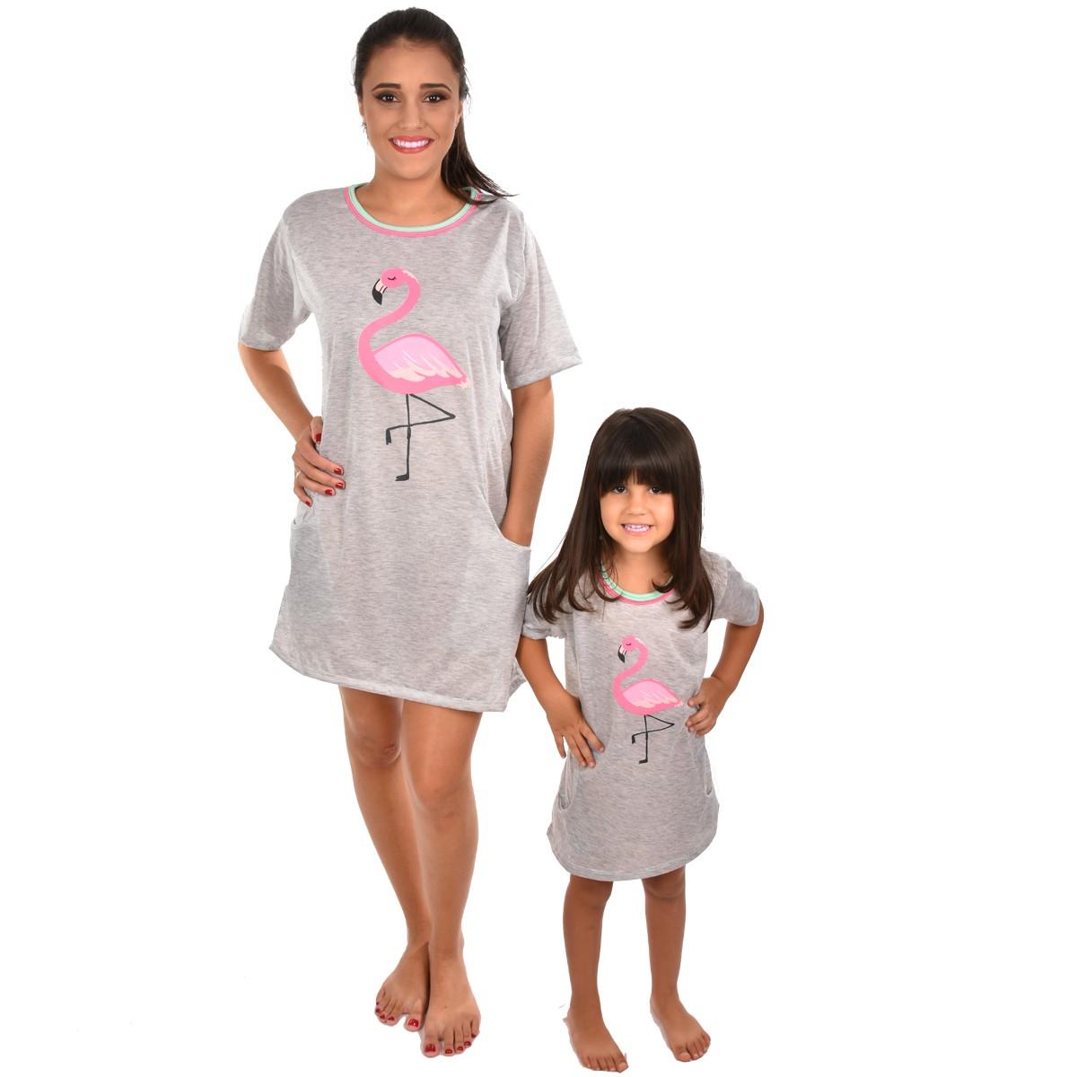 Camisola Camisão Meia Manga Infantil Feminino Flamingo Mãe e Filha 366
