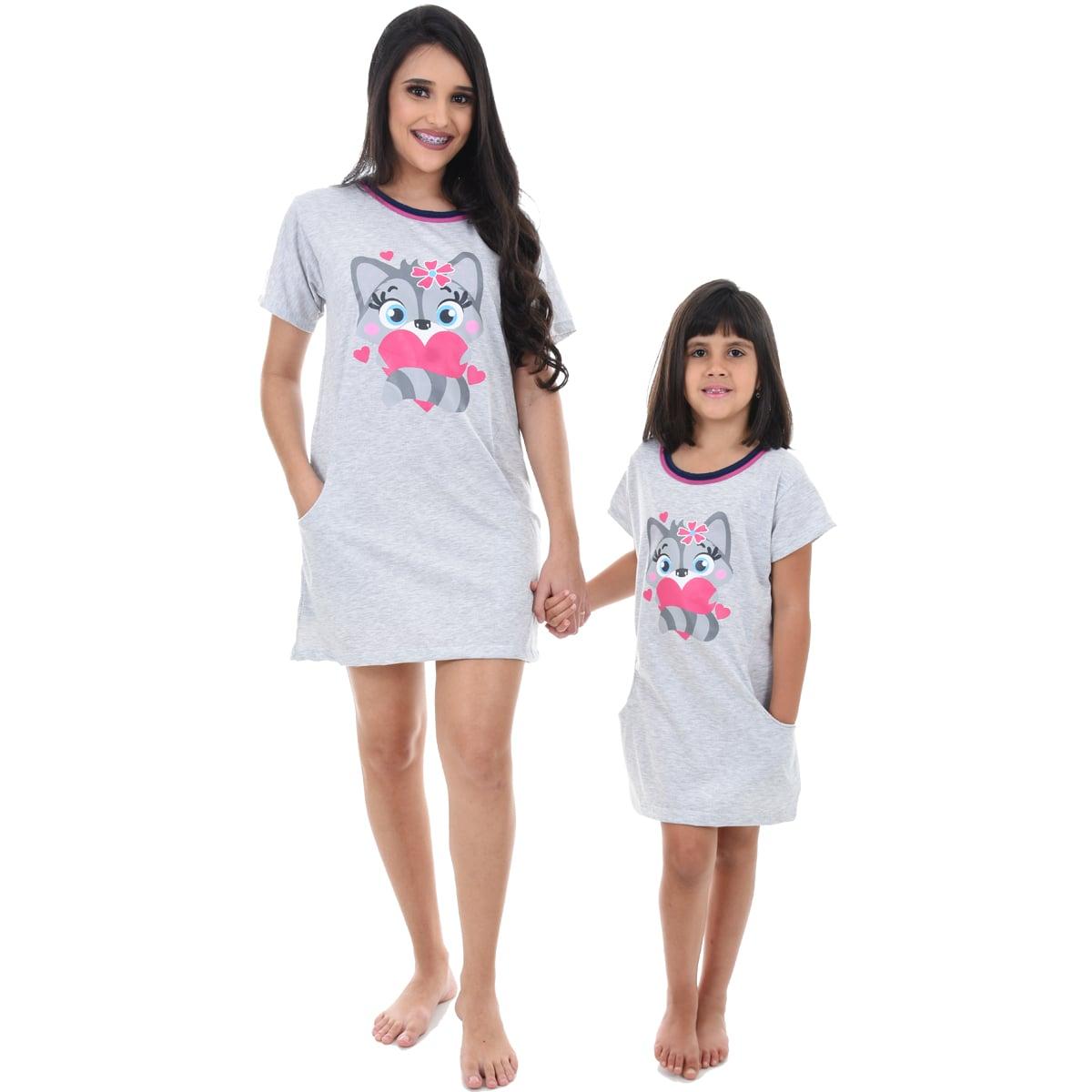 Camisola Camisão Meia Manga Infantil Feminino Raposa Mãe e Filha 366