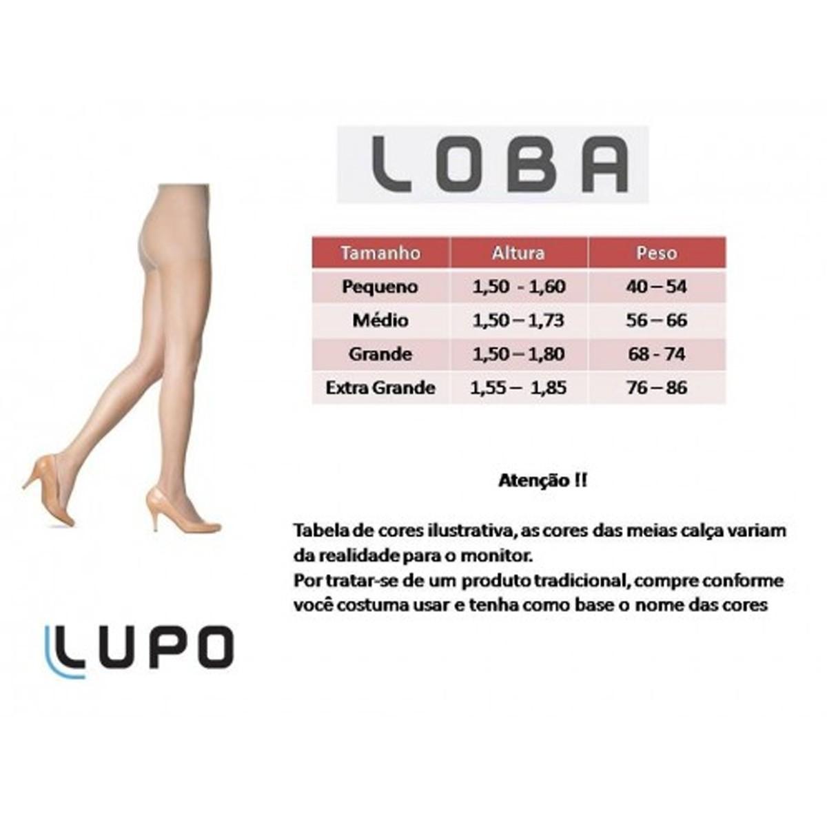 Meia Calça Feminina Loba Compressão Suave 6-9 MMHG de Compressão Fio 40 Lupo - 59000