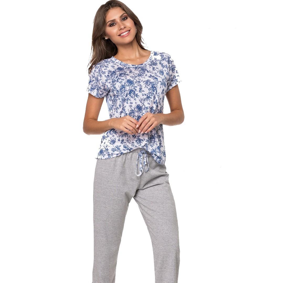 Pijama Adulto Feminino Meia Manga Estampa Flores Com Calça Zee Rucci ZR3200-001