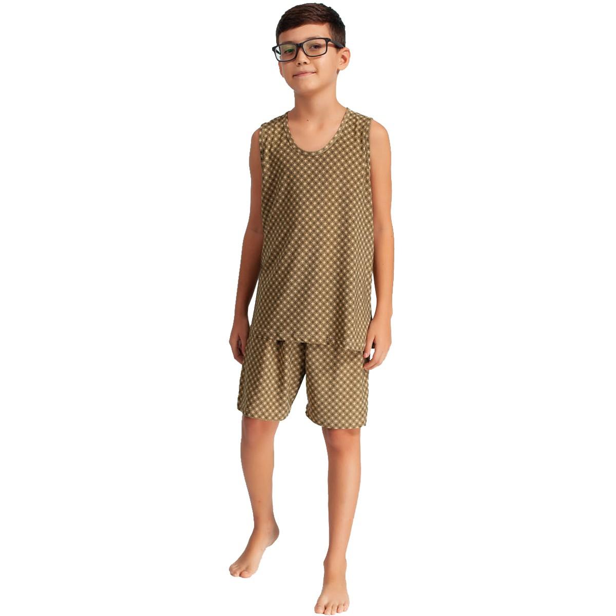 Pijama Camiseta Regata Short Liganete Masculino Infantil Menino Ref: 1422