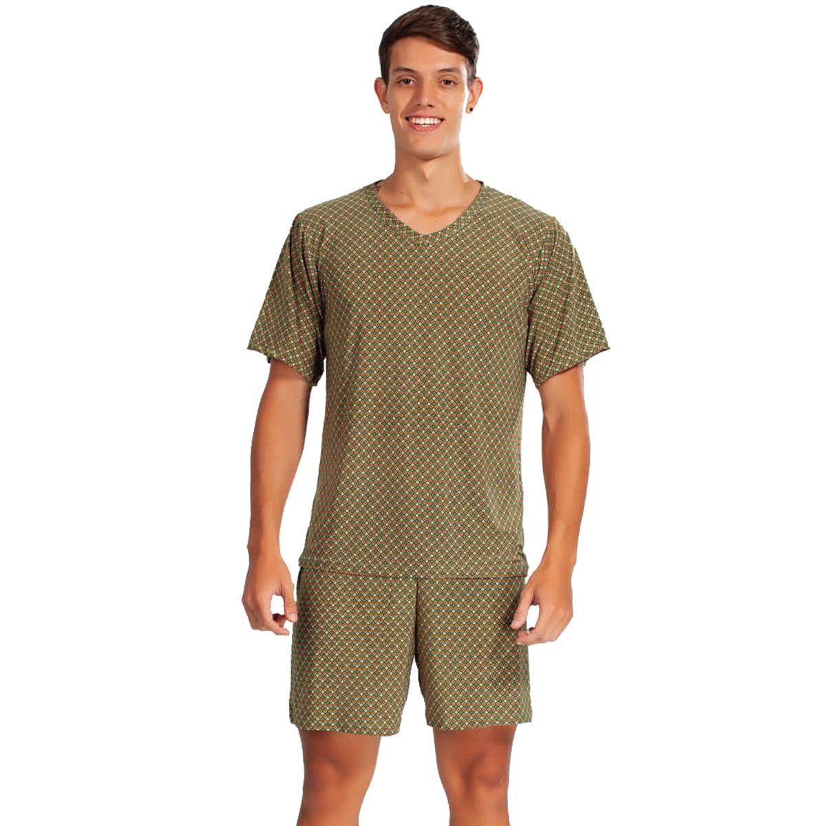 Pijama Curto Camisa Meia Manga Short Liganete Estampado Masculino Adulto Ref: 1365