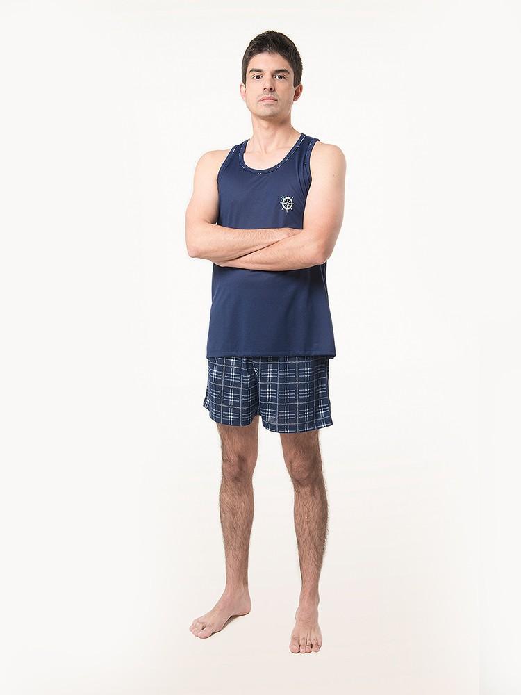 Pijama Curto Camiseta Regata Short Estampado Masculino Adulto Ref: 1258