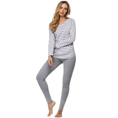 Pijama Listrado Manga Longa Calça Adulto Feminino Legging Zee Rucci ZR3201-002