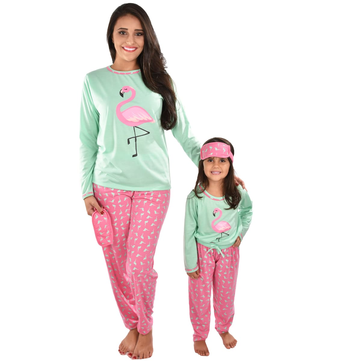 Pijama Longo Calça C/ Tapa Olho Feminino Adulto Estampa Desenho Flamingo 310