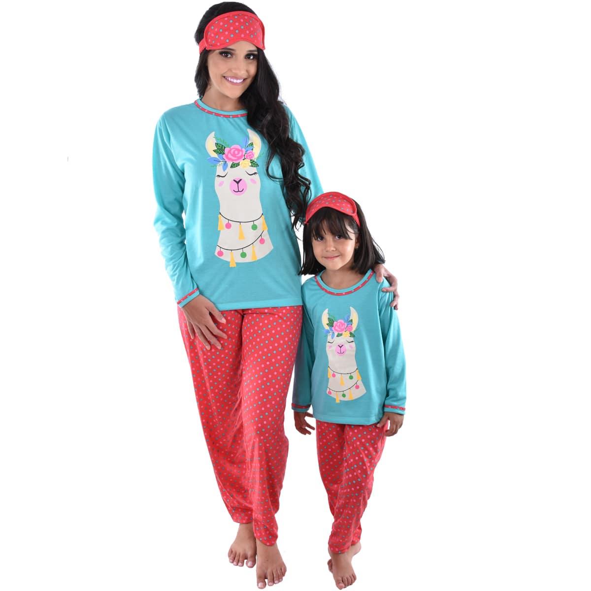 Pijama Longo Calça C/ Tapa Olho Feminino Adulto Estampa Desenho Lhama 310