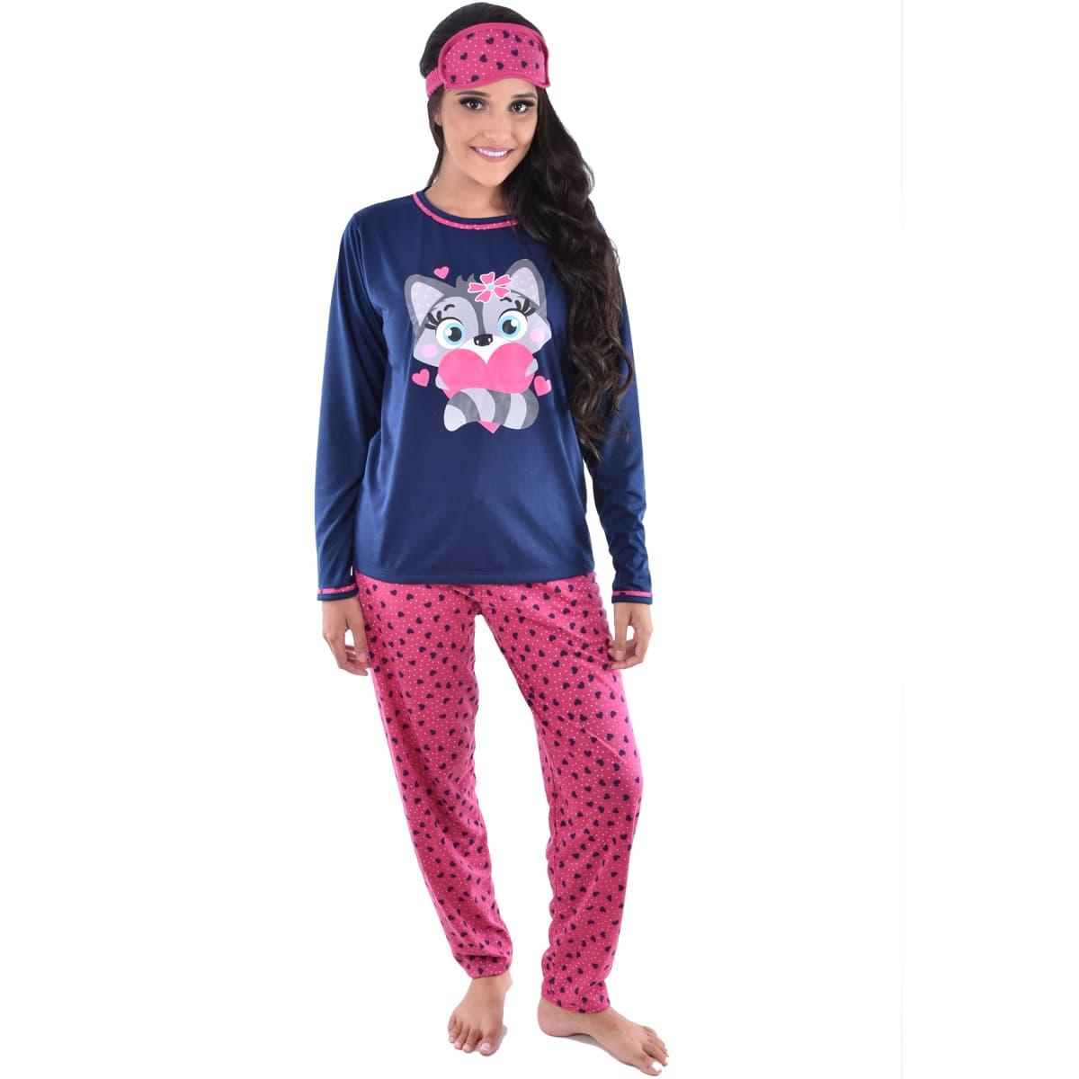 Pijama Longo Calça C/ Tapa Olho Feminino Adulto Estampa Desenho Raposa 310