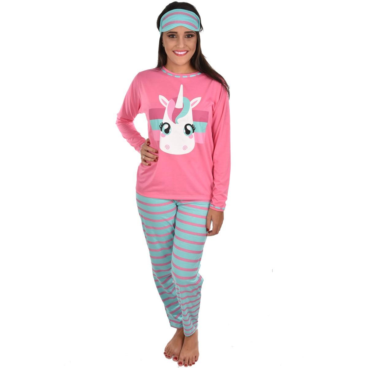 Pijama Longo Calça C/ Tapa Olho Feminino Adulto Estampa Desenho Unicórnio 310