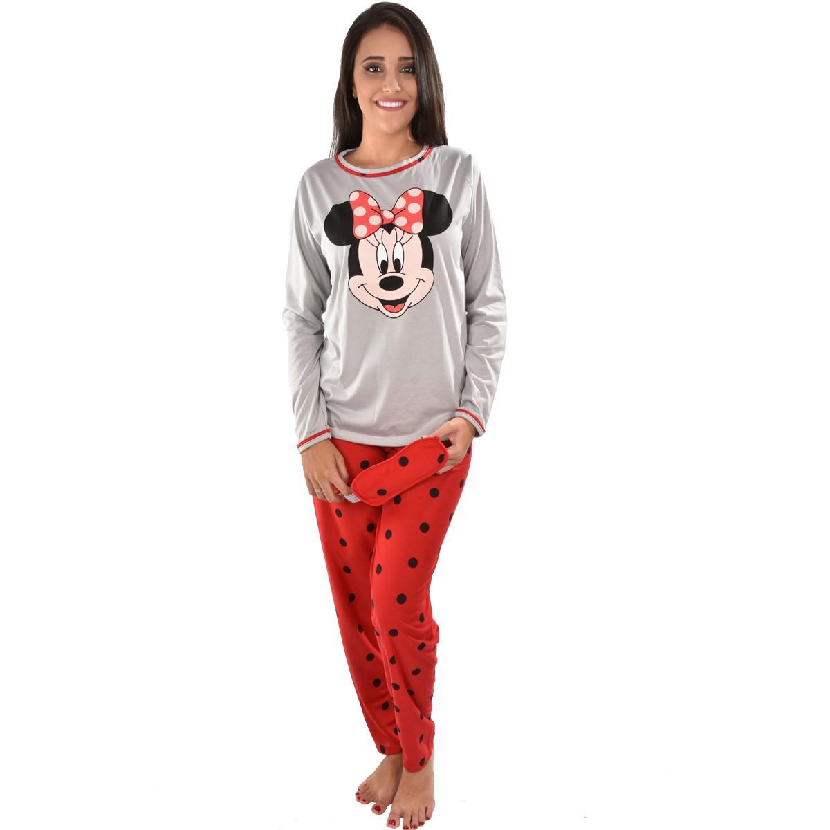 Pijama Longo Calça C/ Tapa Olho Feminino Adulto Estampa Minnie Disney 310