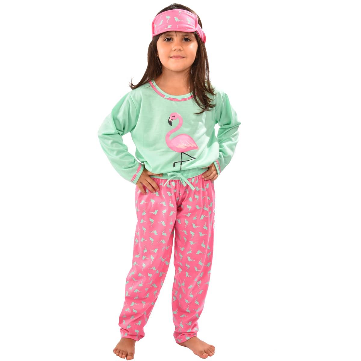 Pijama Longo Calça C/ Tapa Olho Feminino Infantil Estampa Desenho Flamingo Ref: 311