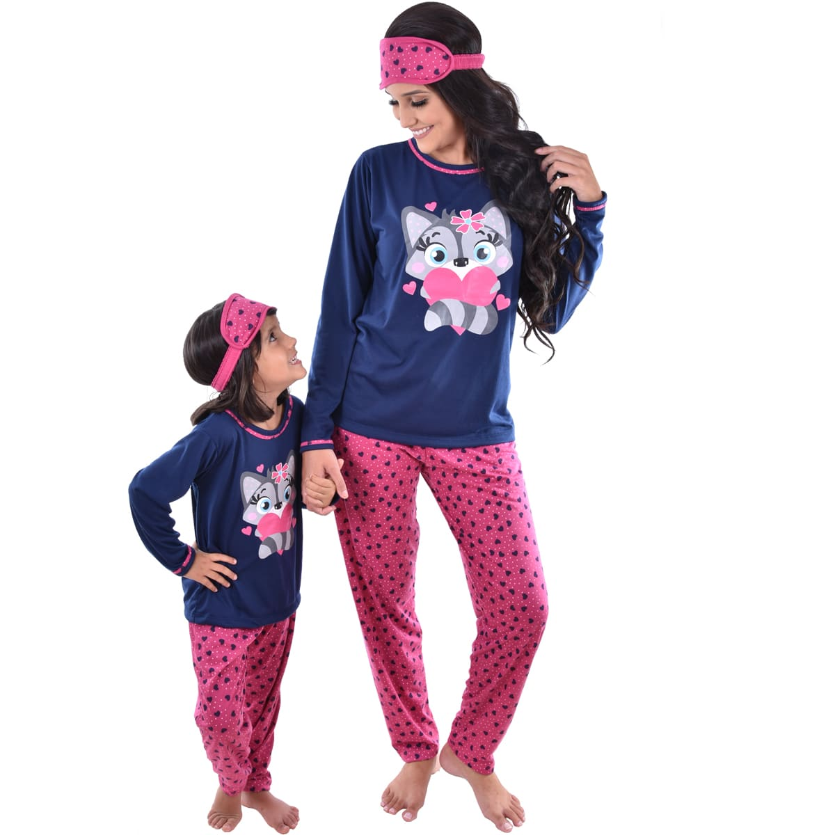 Pijama Longo Calça C/ Tapa Olho Feminino Infantil Estampa Desenho Raposa Ref: 311