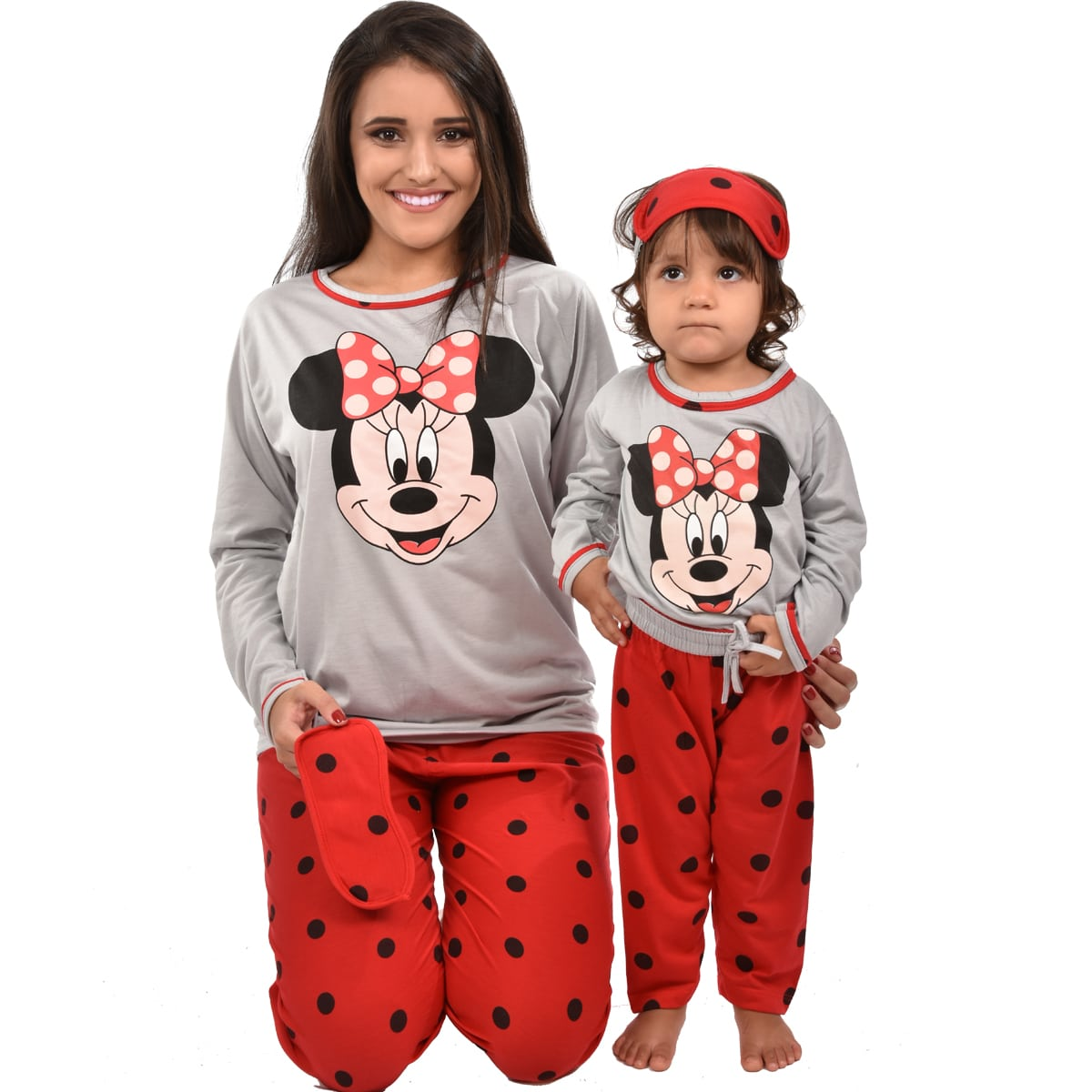 Pijama Longo Calça C/ Tapa Olho Feminino Infantil Estampa Minnie Disney Ref: 311