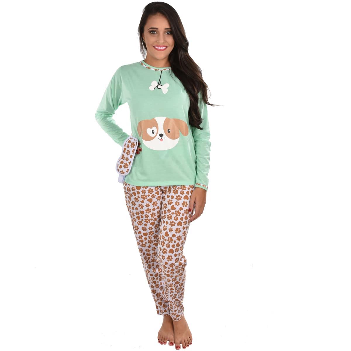 Pijama Longo Calça Máscara de Dormir Feminino Adulto Cachorro 310