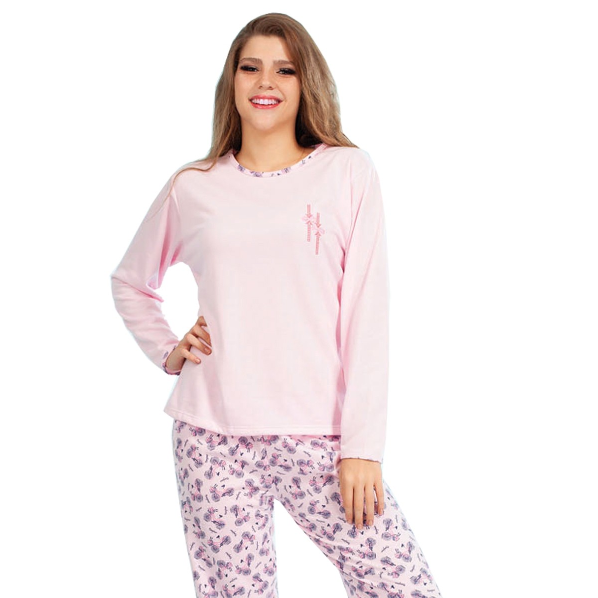 Pijama Longo Manga Longa Calça Flanelado Moletinho Feminino Adulto Ref: 1177