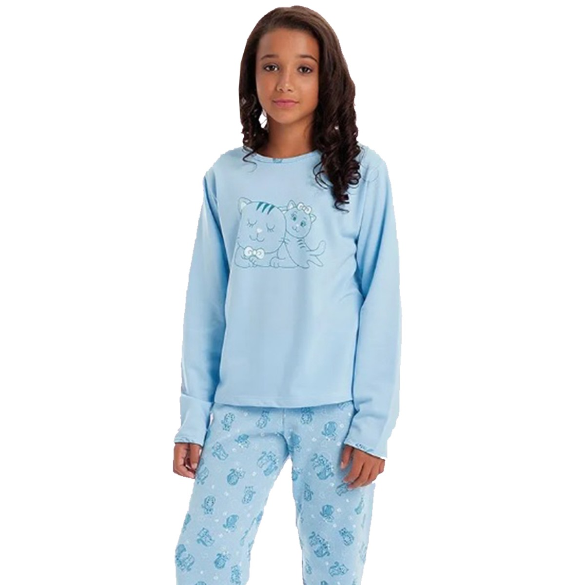 Pijama Longo Manga Longa Calça Flanelado Moletinho Feminino Infantil Menina Ref: 1356