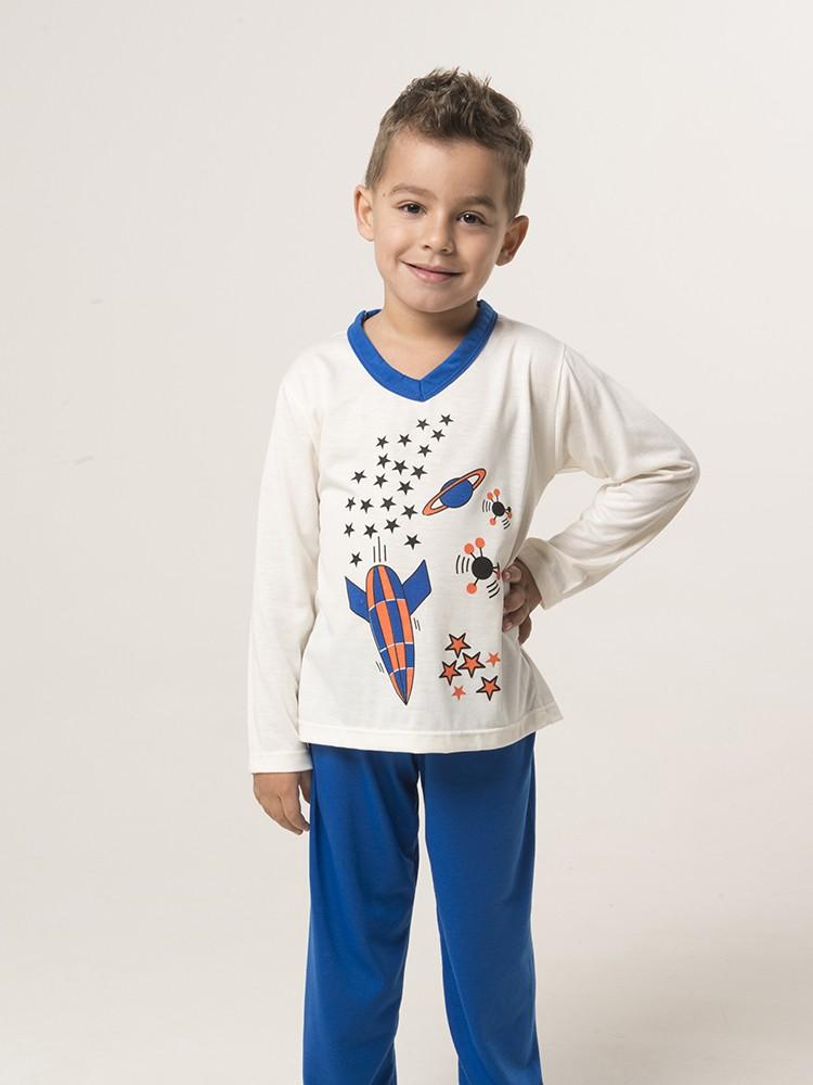 Pijama Longo Manga Longa Com Calça Estampado Masculino Infantil Menino Ref: 1288