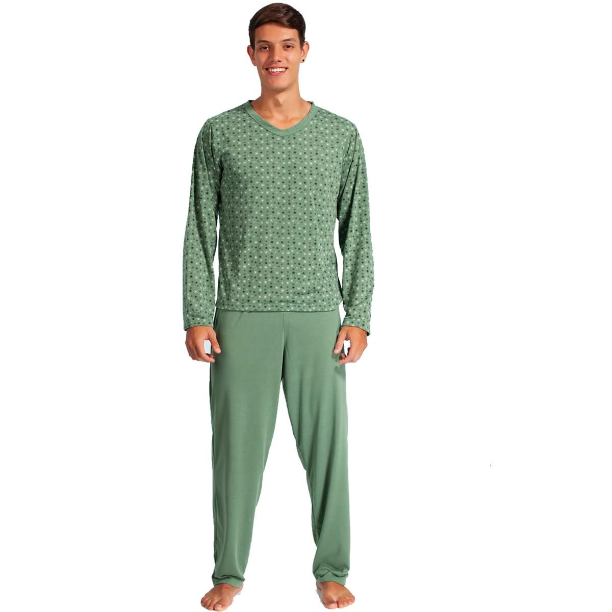 Pijama Longo Manga Longa Com Calça Masculino Adulto Estampado Ref: 1350