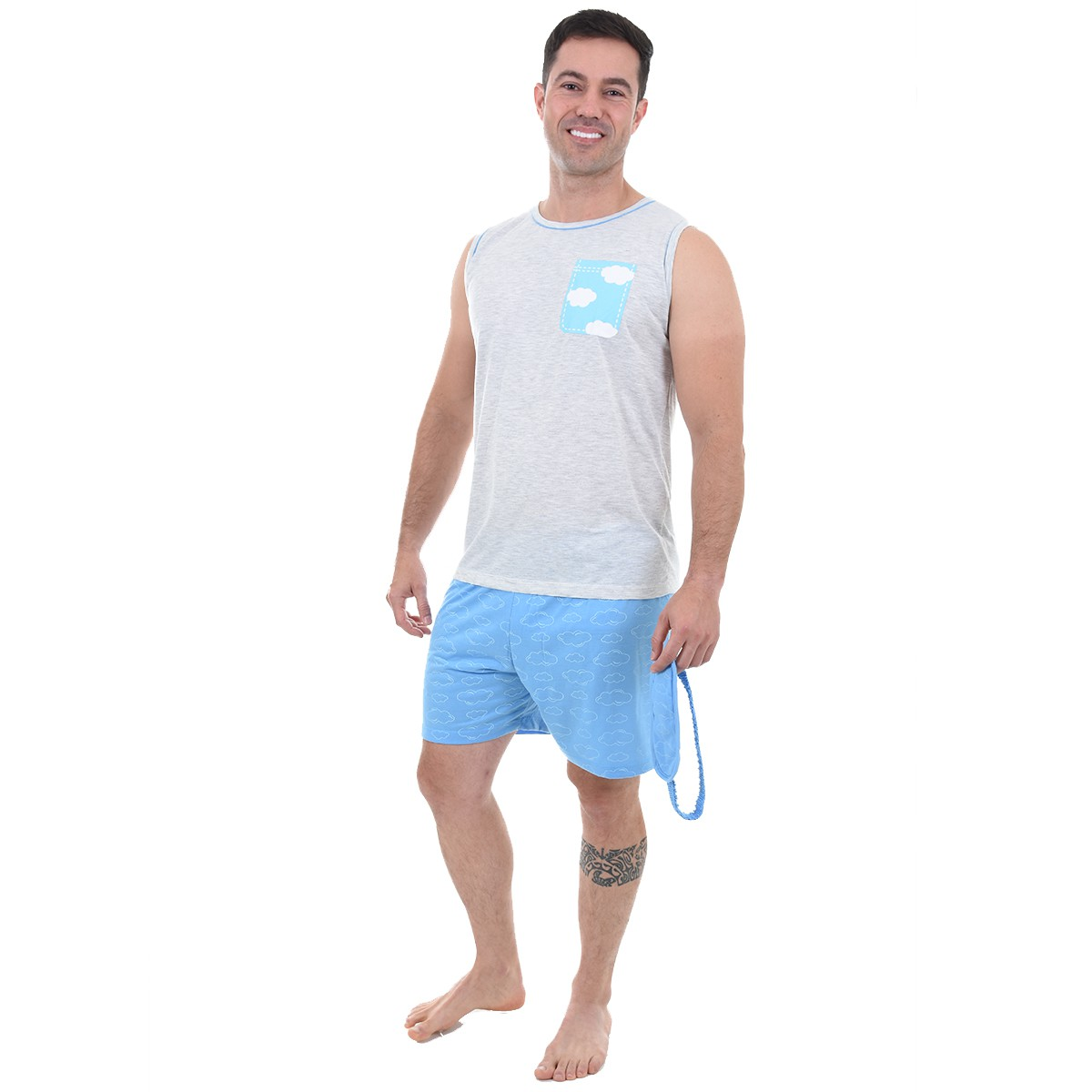 Pijama Masculino Adulto Regata Malha Estampa Short Tapa Olho Chuva de Amor 446