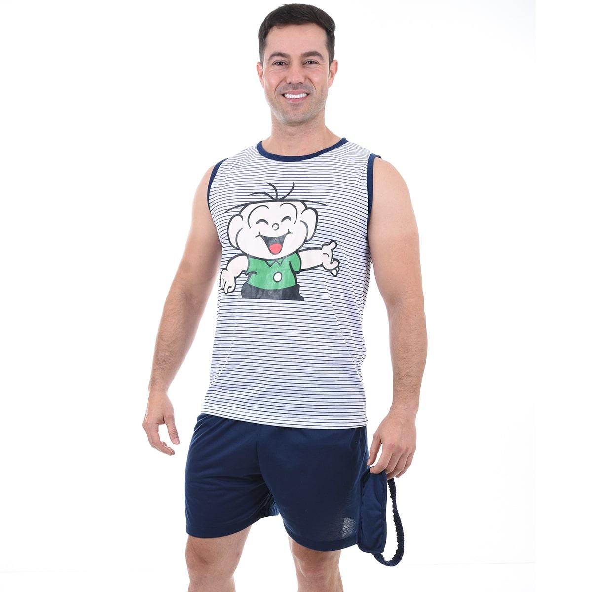 Pijama Masculino Adulto Regata Short Tapa Olho Cebolinha Turma da Mônica 433