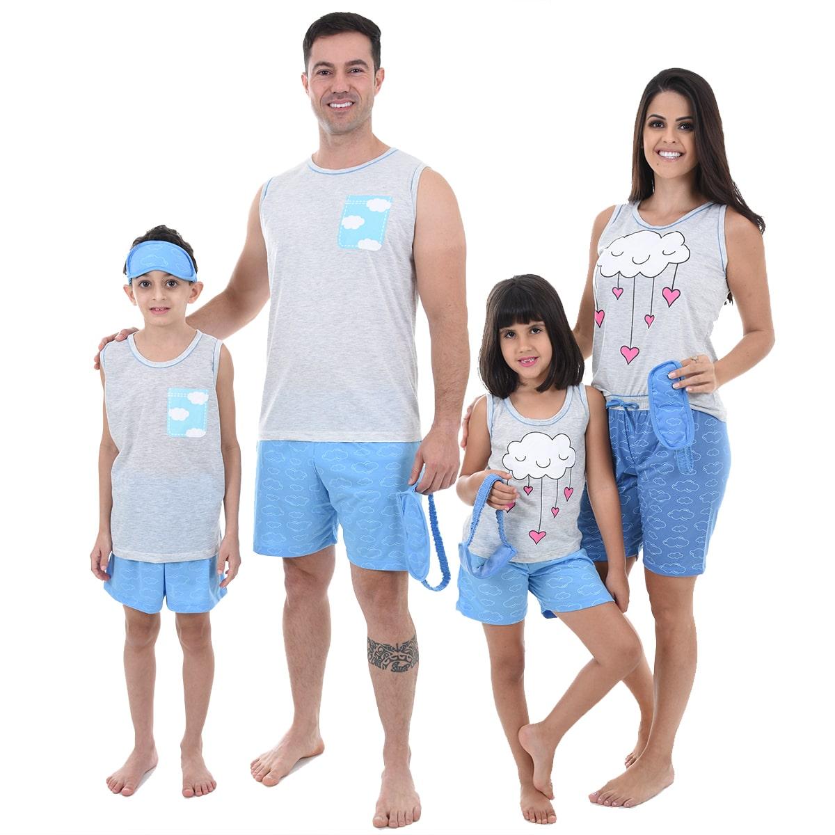 Pijama Masculino Infantil Regata Malha Estampa Short Tapa Olho Chuva de Amor 447
