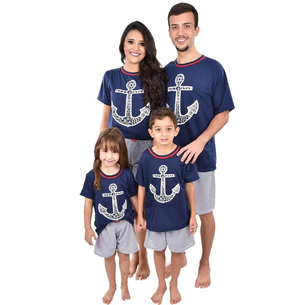 Pijama Meia Manga Short Bermuda Âncora Feminino Infantil Marinheiro Navy 393