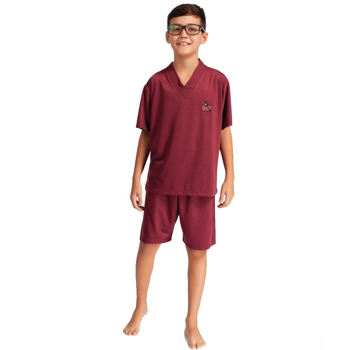 Pijama Meia Manga Short Malha Masculino Infantil Estampado Ref: 1423
