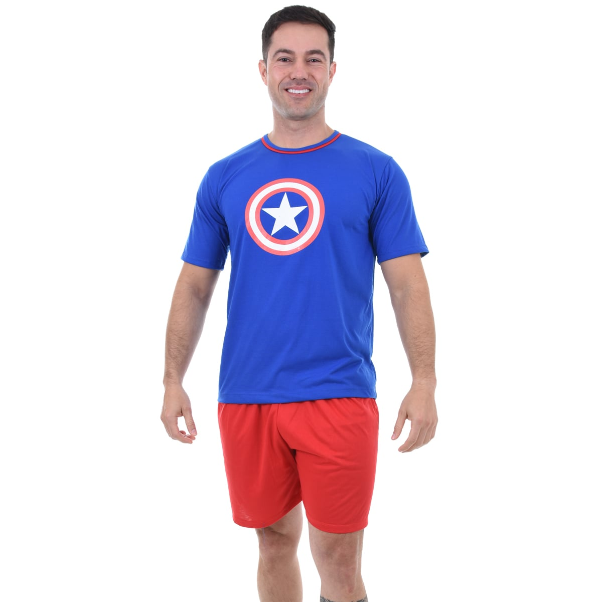 Pijama Meia Manga Short Masculino Adulto Capitão América Ref 347