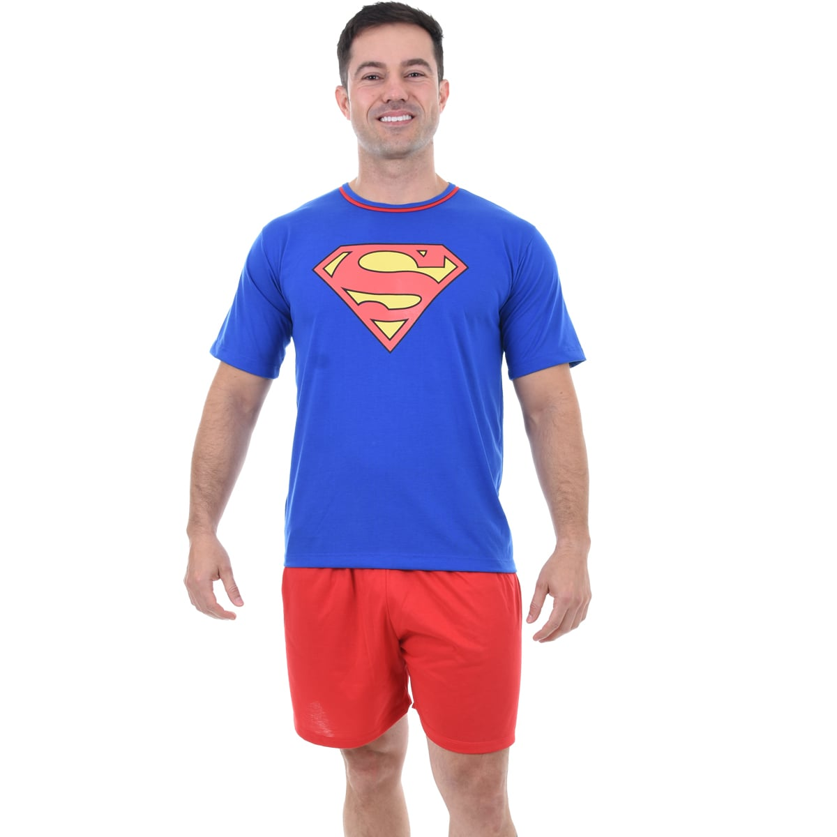 Pijama Meia Manga Short Masculino Adulto Superman Super Homem Ref 347