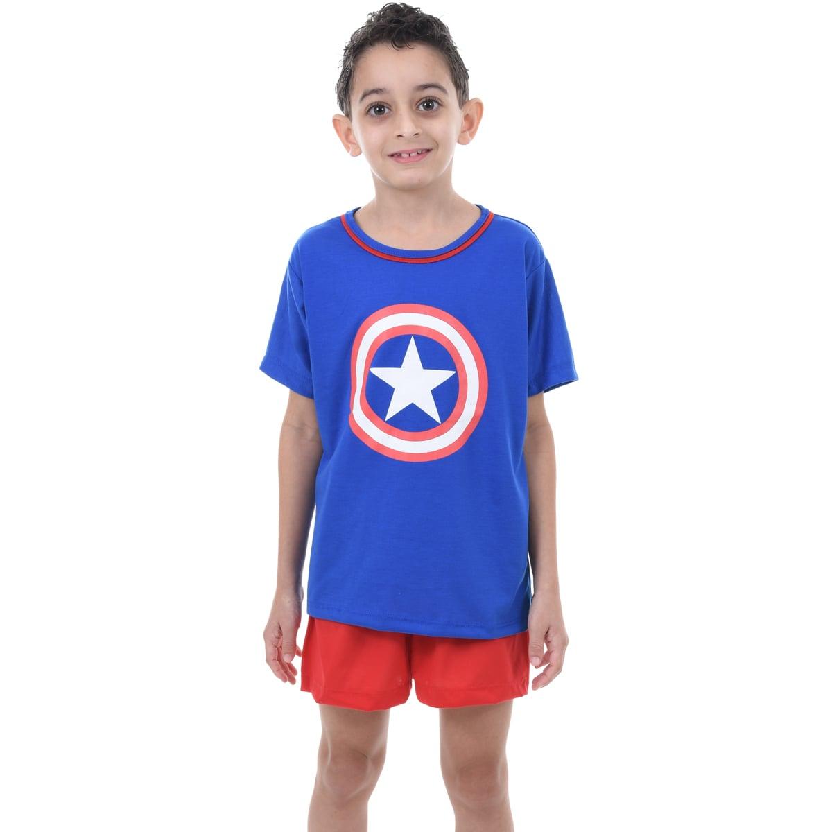 Pijama Meia Manga Short Masculino Infantil Menino Capitão América Vingadores Ref 348
