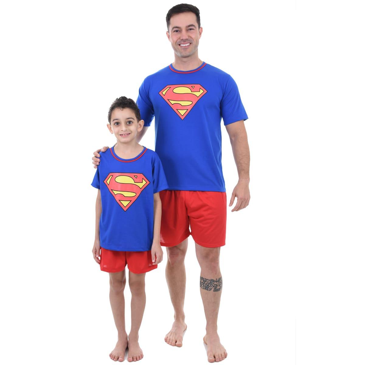 Pijama Meia Manga Short Masculino Infantil Menino Superman Super Homem Ref 348