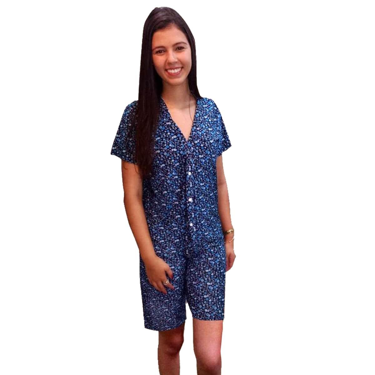 Pijama Pescador Manga Curta Aberto Bermuda Liganete Adulto Estampado Ref: 7001
