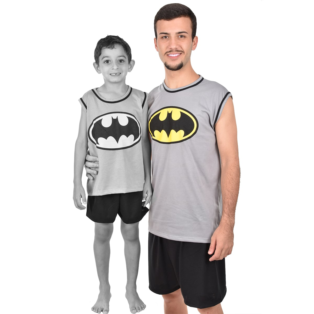 Pijama Regata Short Masculino Adulto Batman Liga da Justiça Ref 355
